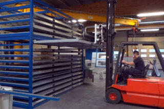 compact convenient storage method forklift handling metal sheets