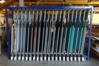 organized metal sheeting rack drawers