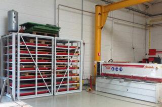 rolbrug opslag horizontale platenstelling rek