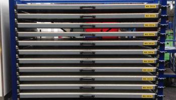 Horizontal storage of steel plates