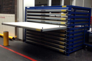 horizontal stocking of steel sheets
