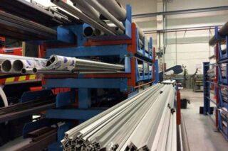 metal workshop steel bars aluminium profile storage