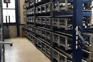 Compact efficient cantilever rack for workshop