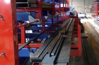 roll-out drawer storage rack for profiles flat iron bars