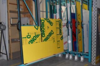 dibond sheets vertical rack