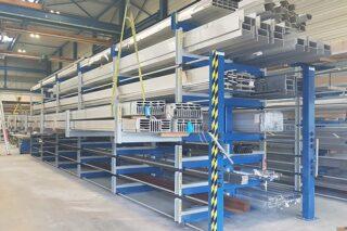 loading bridge crane roll-out storage rack